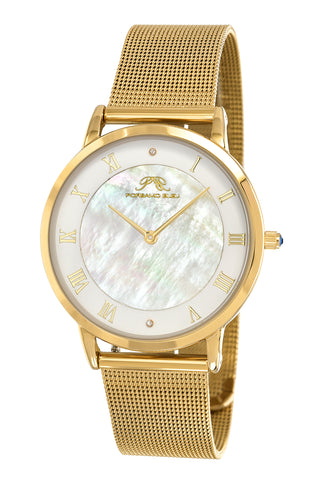 Porsamo Bleu Nina luxury diamond women's watch, interchangeable bands, gold, white, beige 861BNIS