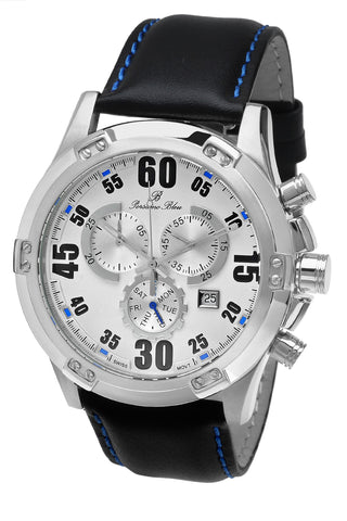 Porsamo Bleu Cancun luxury chronograph men's watch, genuine leather band, silver, black 061ACAL