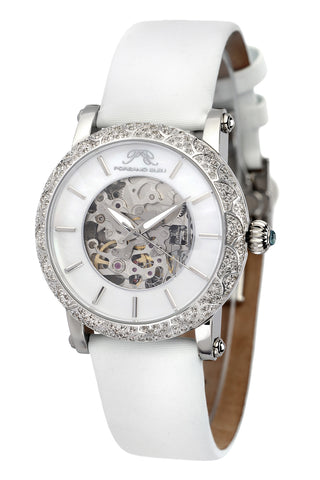 Porsamo Bleu Liza luxury automatic topaz women's watch, satin leather watch, silver, white 691ALIL
