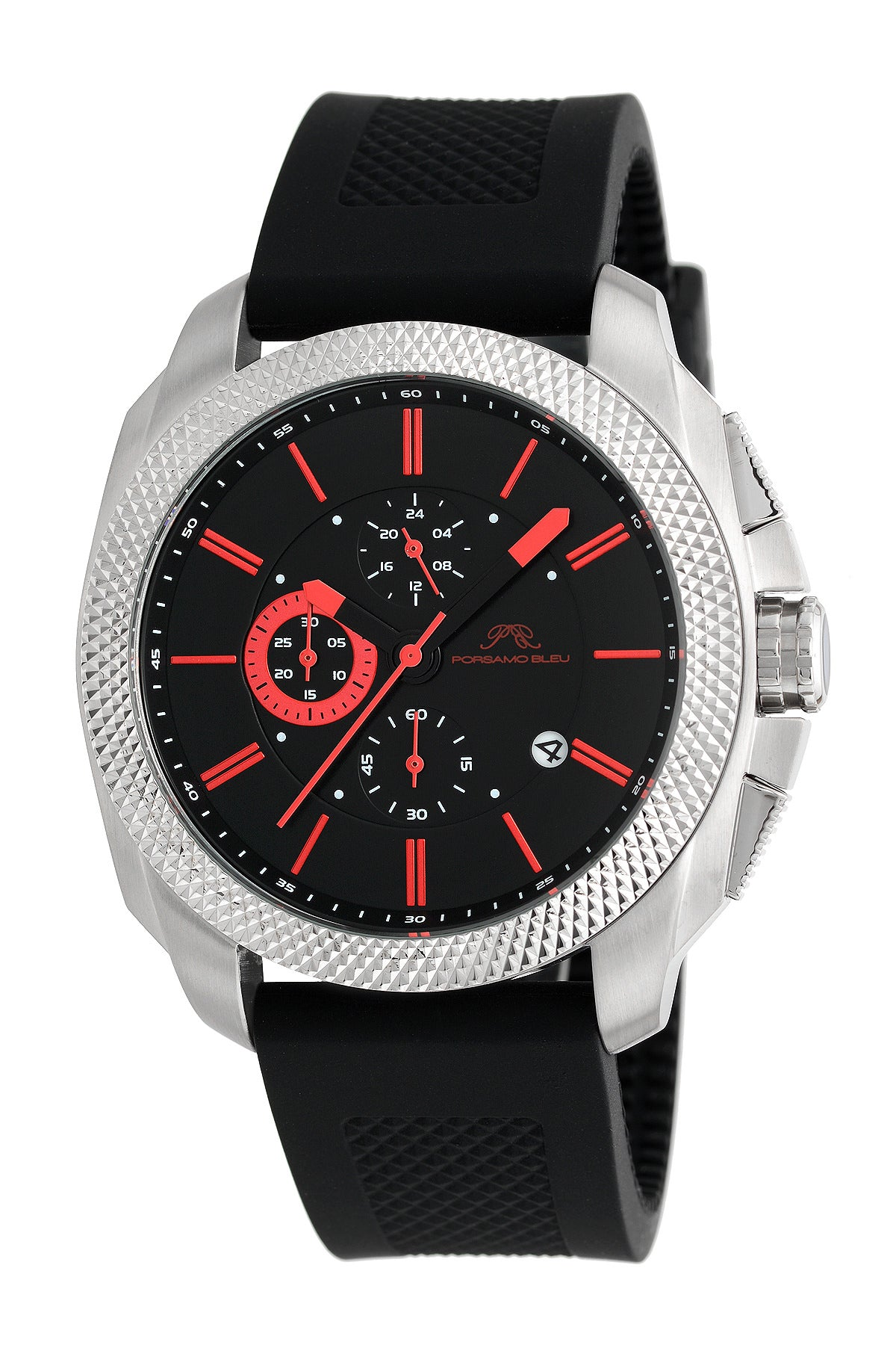 Porsamo Bleu Niccolo luxury chronograph men's watch, silicone strap, silver, black, red 332CNIR