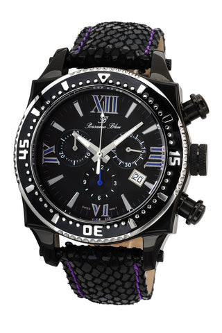 Porsamo Bleu Milan M luxury chronograph men's watch, genuine leather band, black, 032AMIL