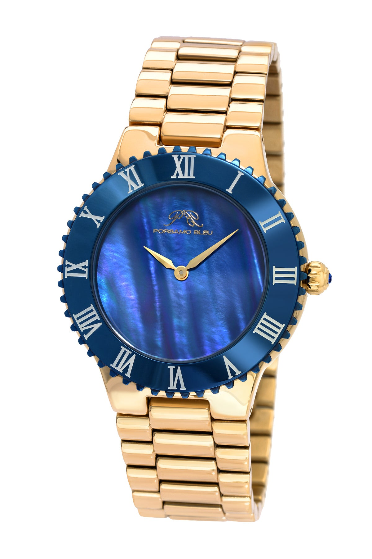 Porsamo Bleu Lexi luxury women's stainless steel watch, gold, blue 942BLES