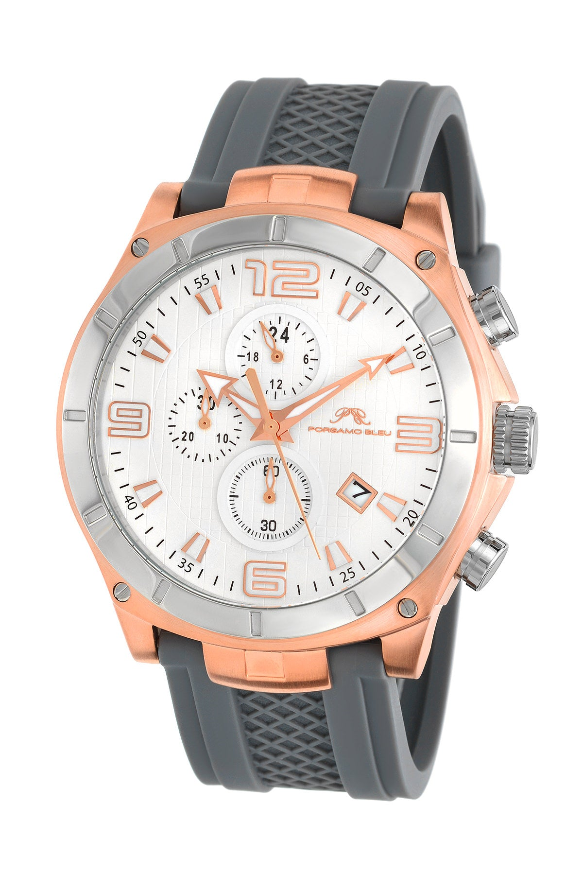 Porsamo Bleu Ethan luxury chronograph men's watch, silicone strap, rose, grey 411CETR