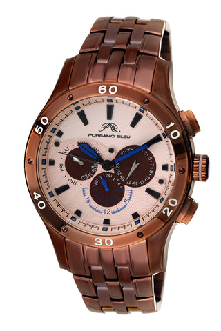 Porsamo Bleu, Andre luxury men's stainless steel watch, brown, rose 221EANS