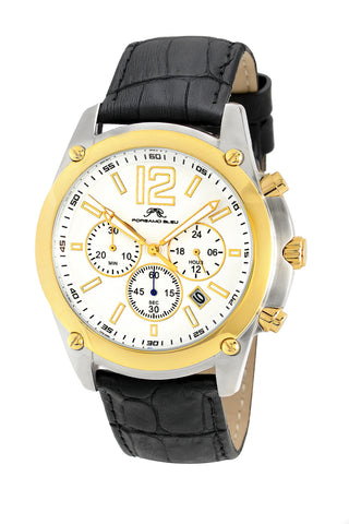 Porsamo Bleu Nathan luxury chronograph men's watch, genuine leather band, gold, black 642BNAL