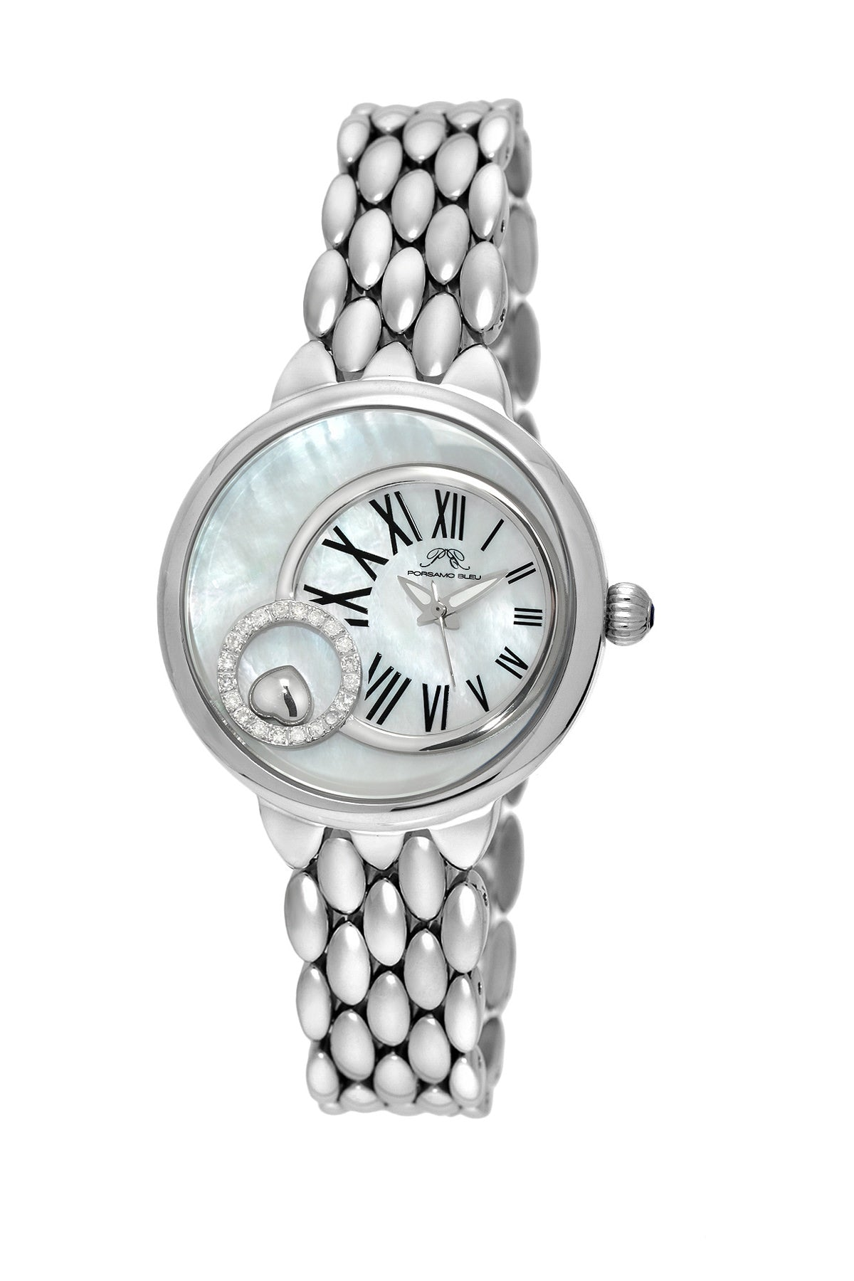 Porsamo Bleu Claire luxury diamond women's stainless steel watch, silver, white 721ACLS