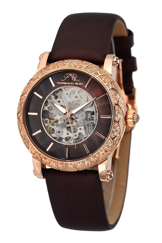 Porsamo Bleu Liza luxury automatic topaz women's watch, satin leather watch, rose, brown 692CLIL