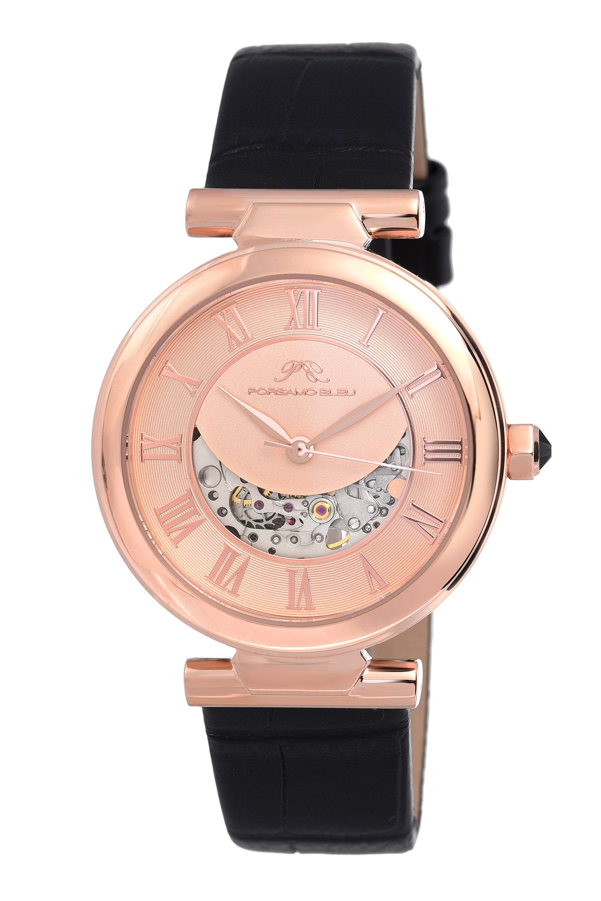 Porsamo Bleu Coco luxury automatic women's watch, genuine leather band, rose, black 811CCOL