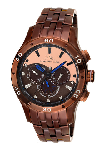 Porsamo Bleu, Andre luxury men's stainless steel watch, brown, rose 222EANS
