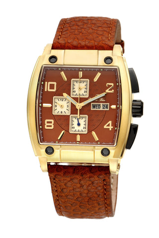 Porsamo Bleu London luxury chronograph men's watch, genuine leather band, gold, brown 142BLOL