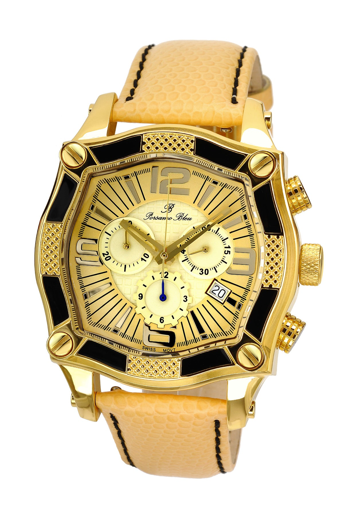 Porsamo Bleu Sao Paulo chronograph men's watch, genuine leather band, gold, butter 023ASPL