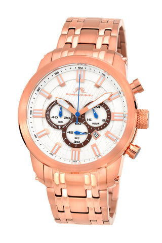 Porsamo Bleu Demetrios luxury chronograph men's stainless steel watch, rose 601CDES