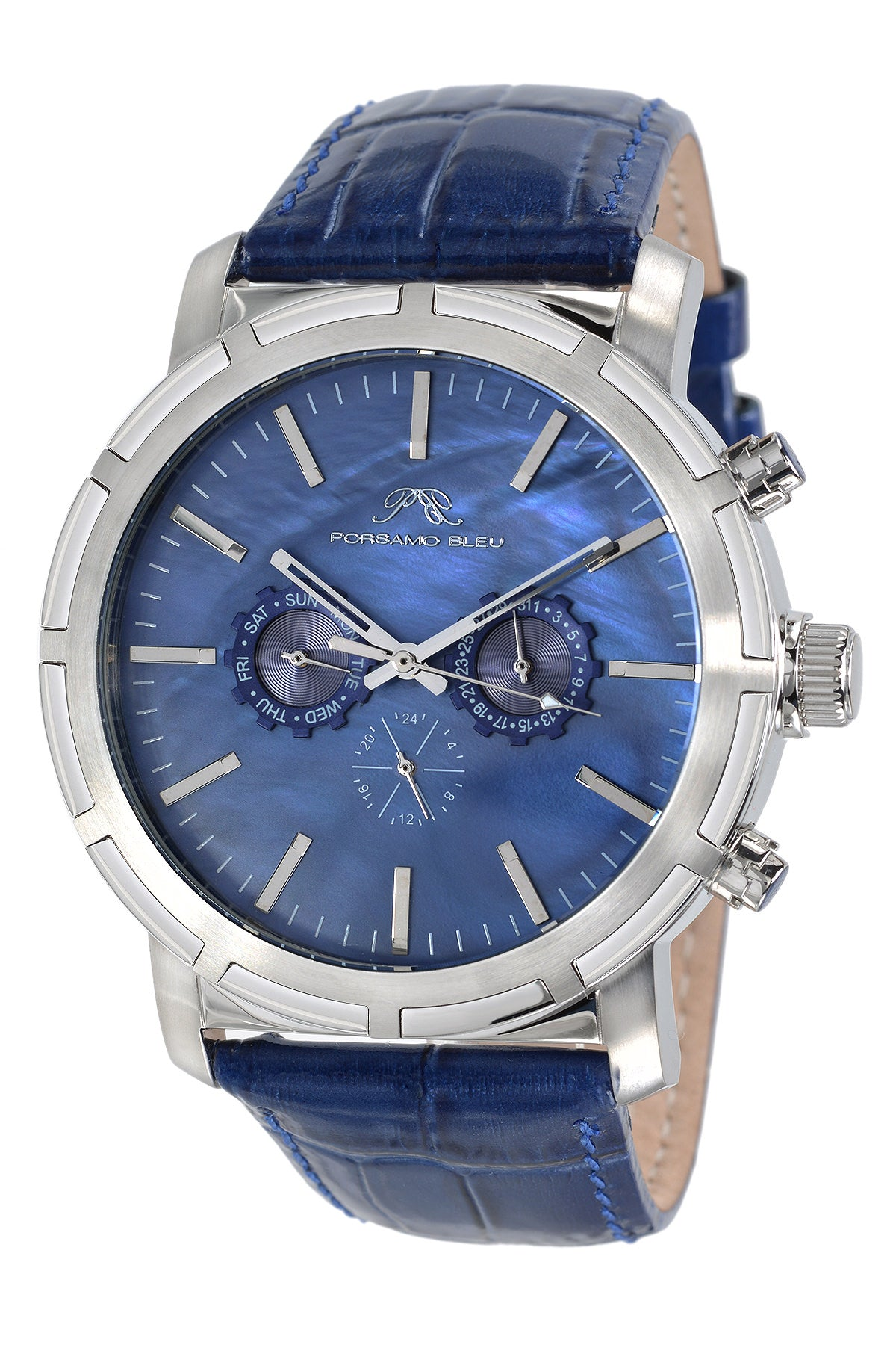 Porsamo Bleu NYC luxury men's watch, genuine leather band, silver, blue 056ANYL