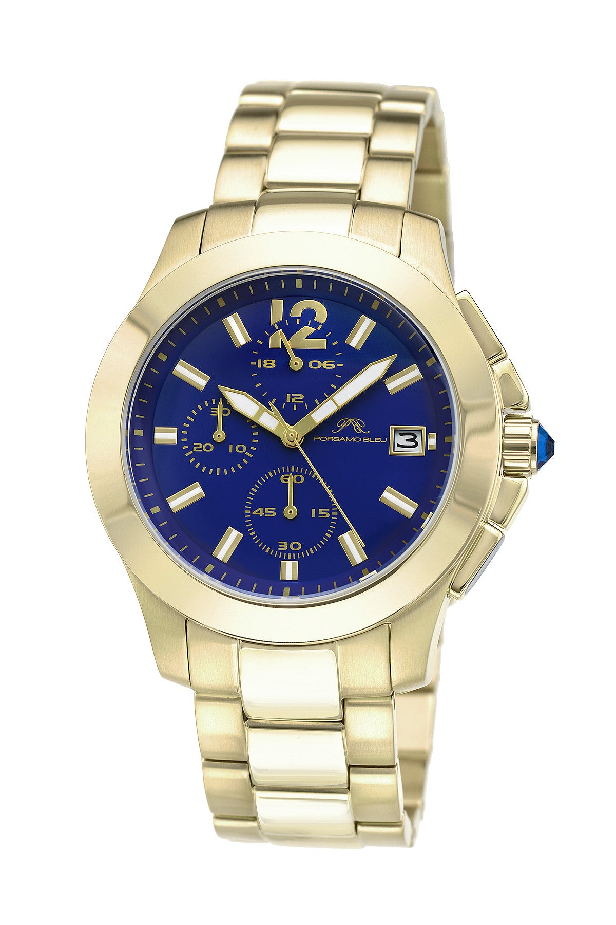 Porsamo Bleu Harper luxury chronograph women's stainless steel watch, champagne, blue 522CHAS