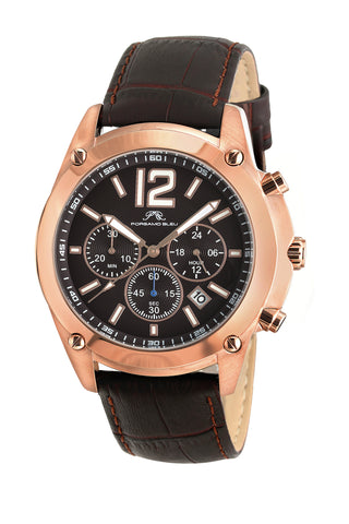Porsamo Bleu Nathan luxury chronograph men's watch, genuine leather band, rose, brown 641CNAL