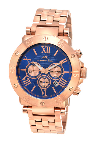 Porsamo Bleu Roger luxury chronograph men's stainless steel watch, rose, blue 582CROS