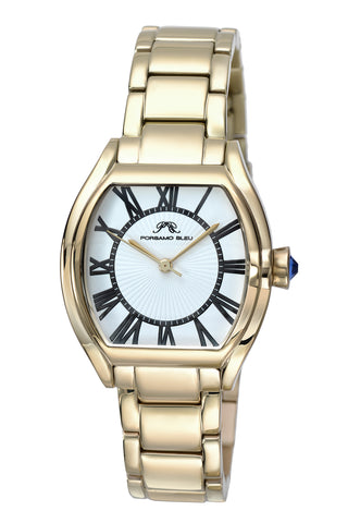 Porsamo Bleu Isabel luxury women's stainless steel watch, champagne, white 182DISS