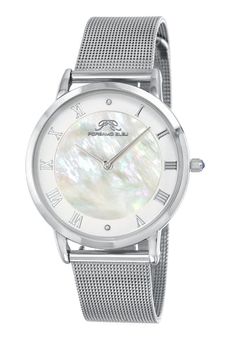 Porsamo Bleu Nina luxury diamond women's watch, interchangeable bands, silver, white, beige 861ANIS