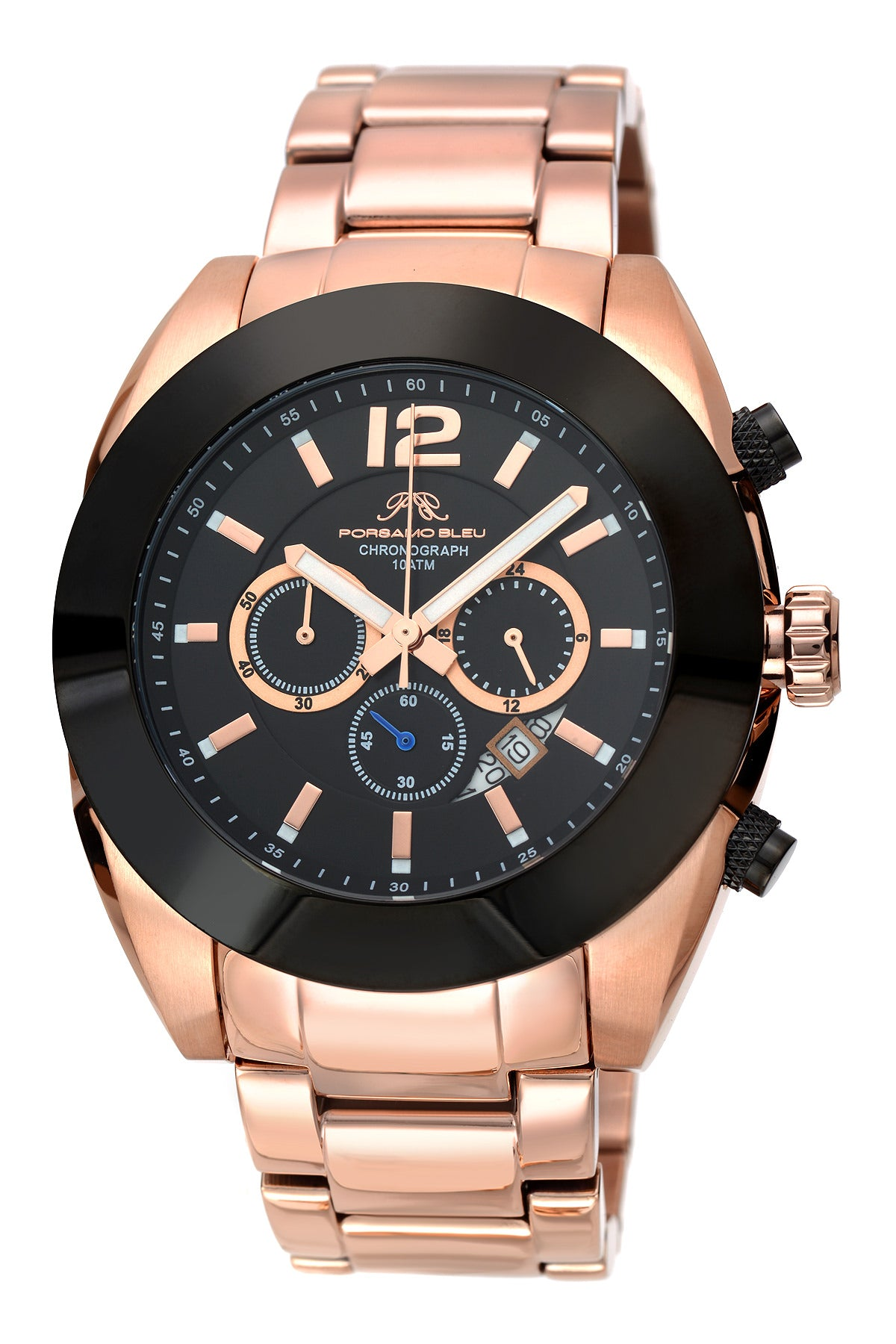 Porsamo Bleu Pascal luxury chronograph men's stainless steel watch, rose, black 262BPAS