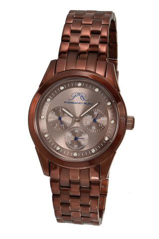Porsamo Bleu Diana luxury diamond women's stainless steel watch, brown 741DDIS