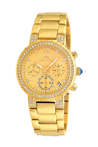 Porsamo Bleu Pilar luxury chronograph women's stainless steel watch, gold 501BPIS