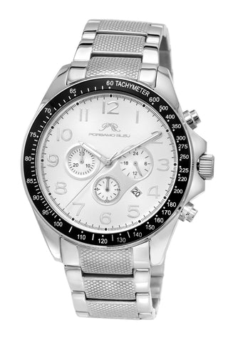 Porsamo Bleu Wolfgang luxury  chronograph men's stainless steel watch, silver 572AWOS