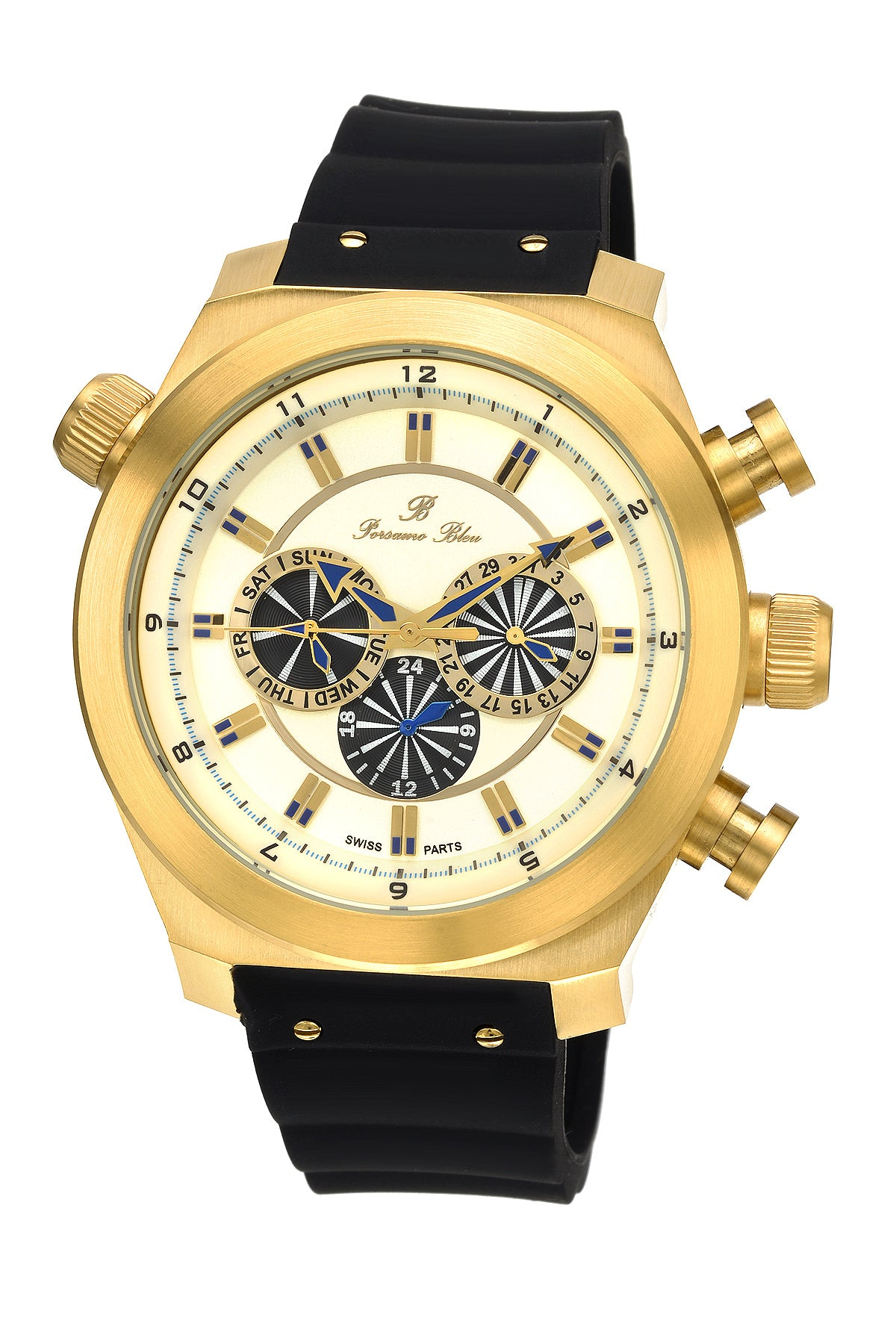 Porsamo Bleu Sydney luxury men's watch, silicone strap, gold, black 165BSYR
