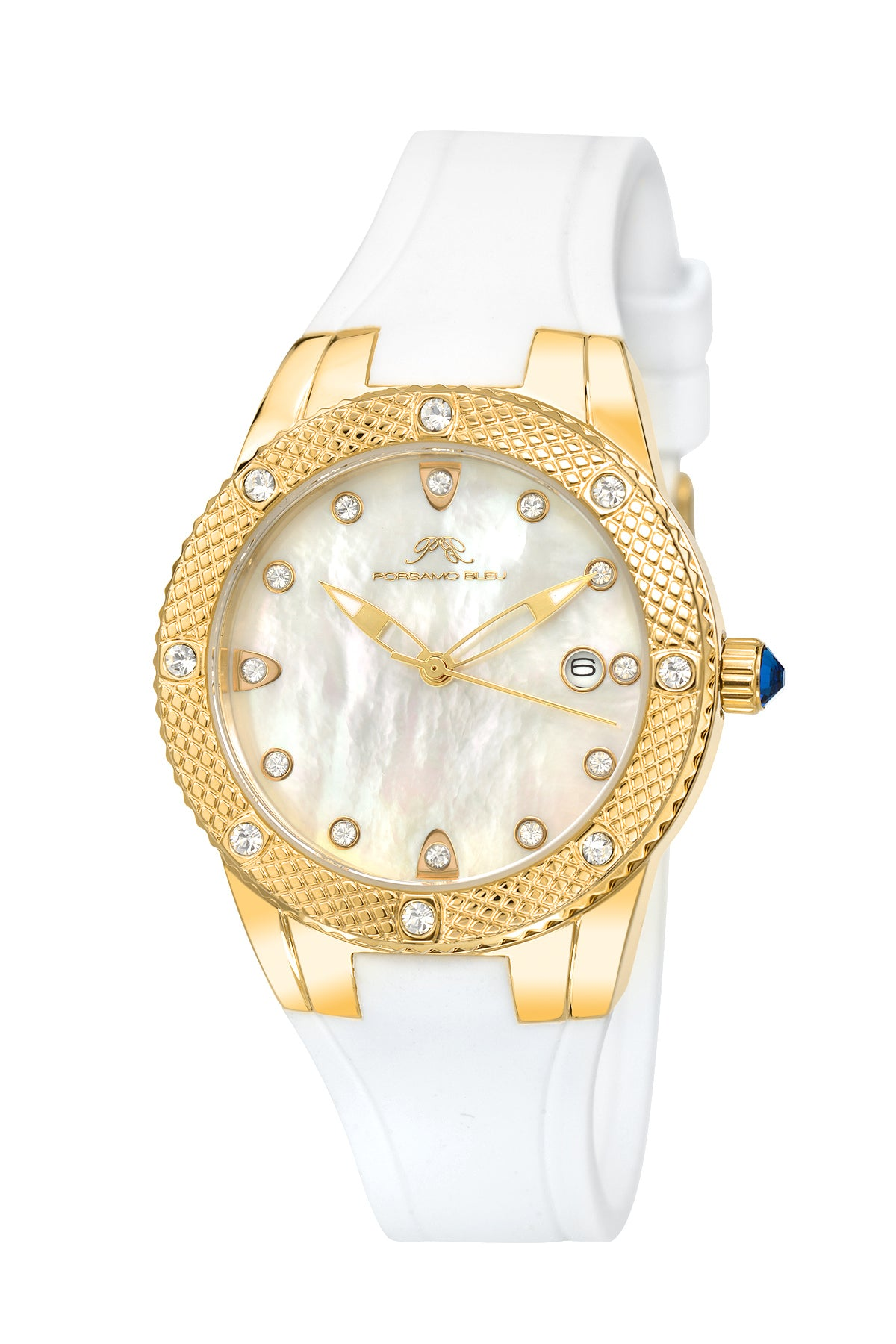 Porsamo Bleu Linda luxury women's watch, silicone strap, gold, white 491BLIR