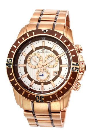 Porsamo Bleu Grand Prix noir luxury chronograph men's stainless steel watch, rose, brown 092CGPS