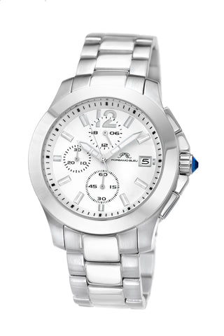 Porsamo Bleu Harper luxury chronograph women's stainless steel watch, silver, white 521AHAS