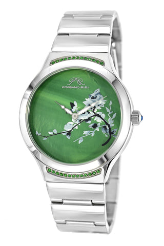 Porsamo Bleu Carmen luxury women's stainless steel watch, silver, green 991ACAS