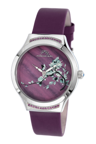 Porsmao Bleu Carmen luxury women's watch, satin covered genuine leather band, silver, lilac 992CCAL