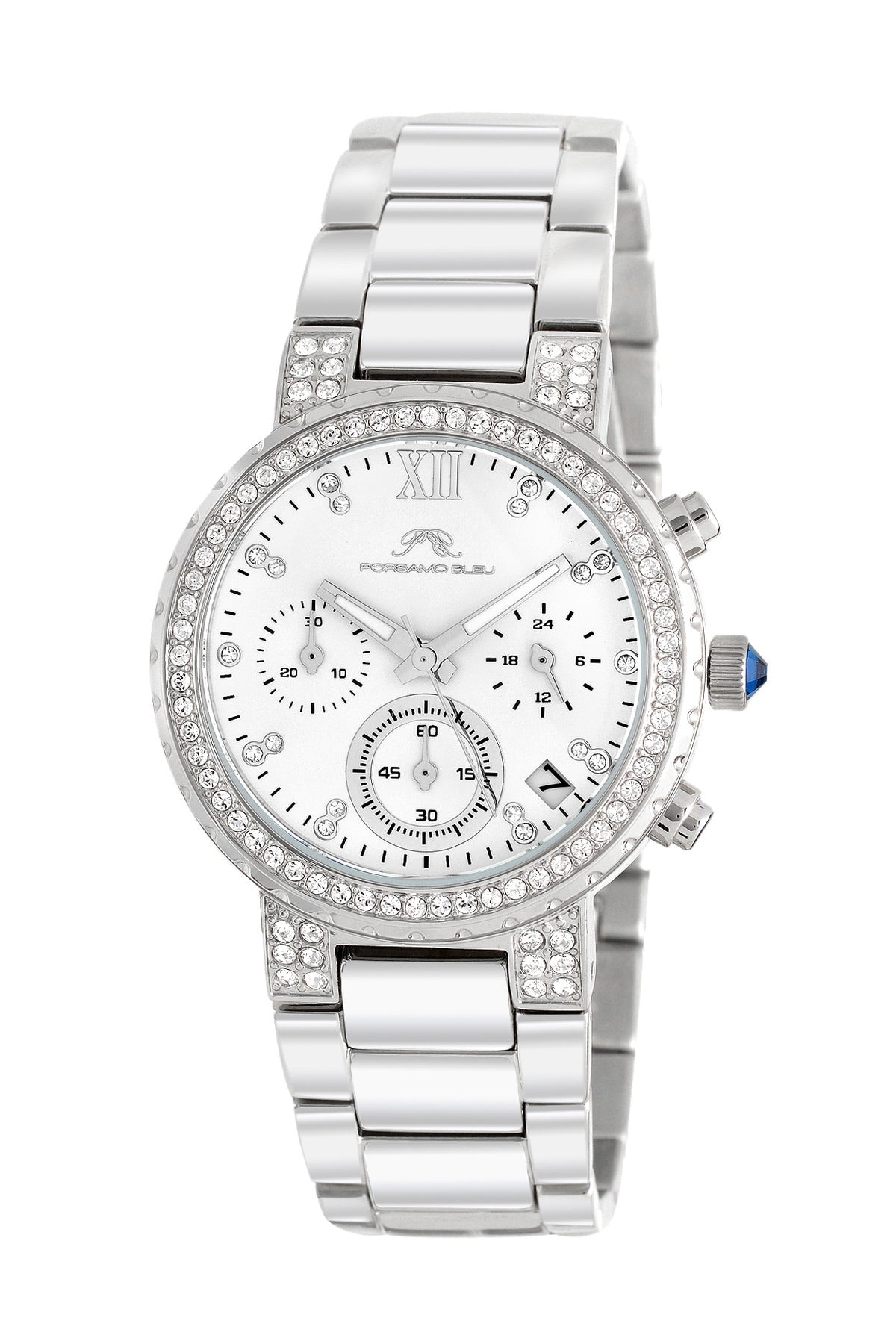 Porsamo Bleu Pilar luxury chronograph women's stainless steel watch, silver, white 501APIS