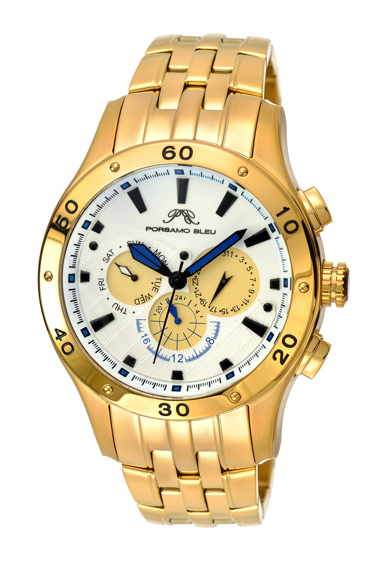 Porsamo Bleu, Andre luxury men's stainless steel watch, gold, white 221BANS