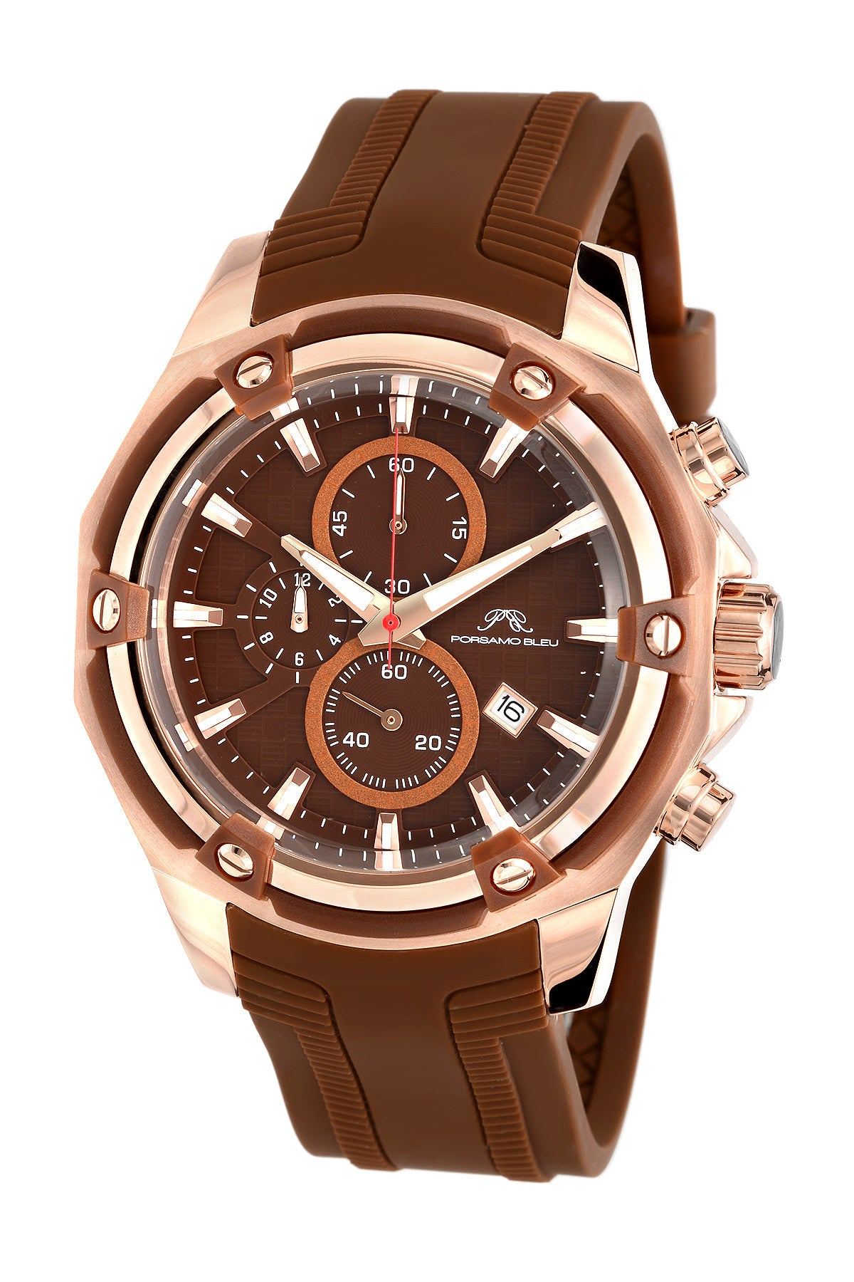 Porsamo Bleu Stavros luxury chronograph men's watch, silicone strap, rose, brown 481BSTR