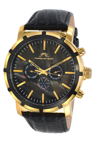 Porsamo Bleu NYC luxury men's watch, genuine leather band, gold, black 051BNYL