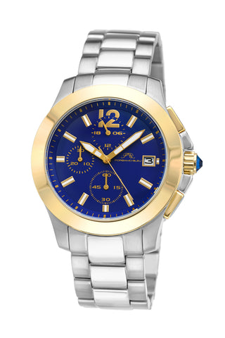 Porsamo Bleu Harper luxury chronograph women's stainless steel watch, silver, gold, blue 522BHAS