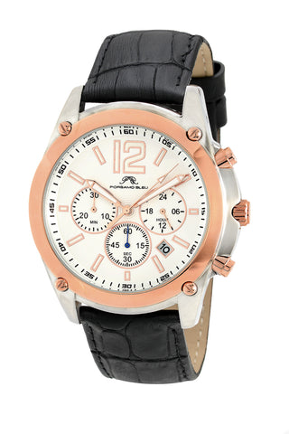 Porsamo Bleu Nathan luxury chronograph men's watch, genuine leather band, rose, black 642CNAL