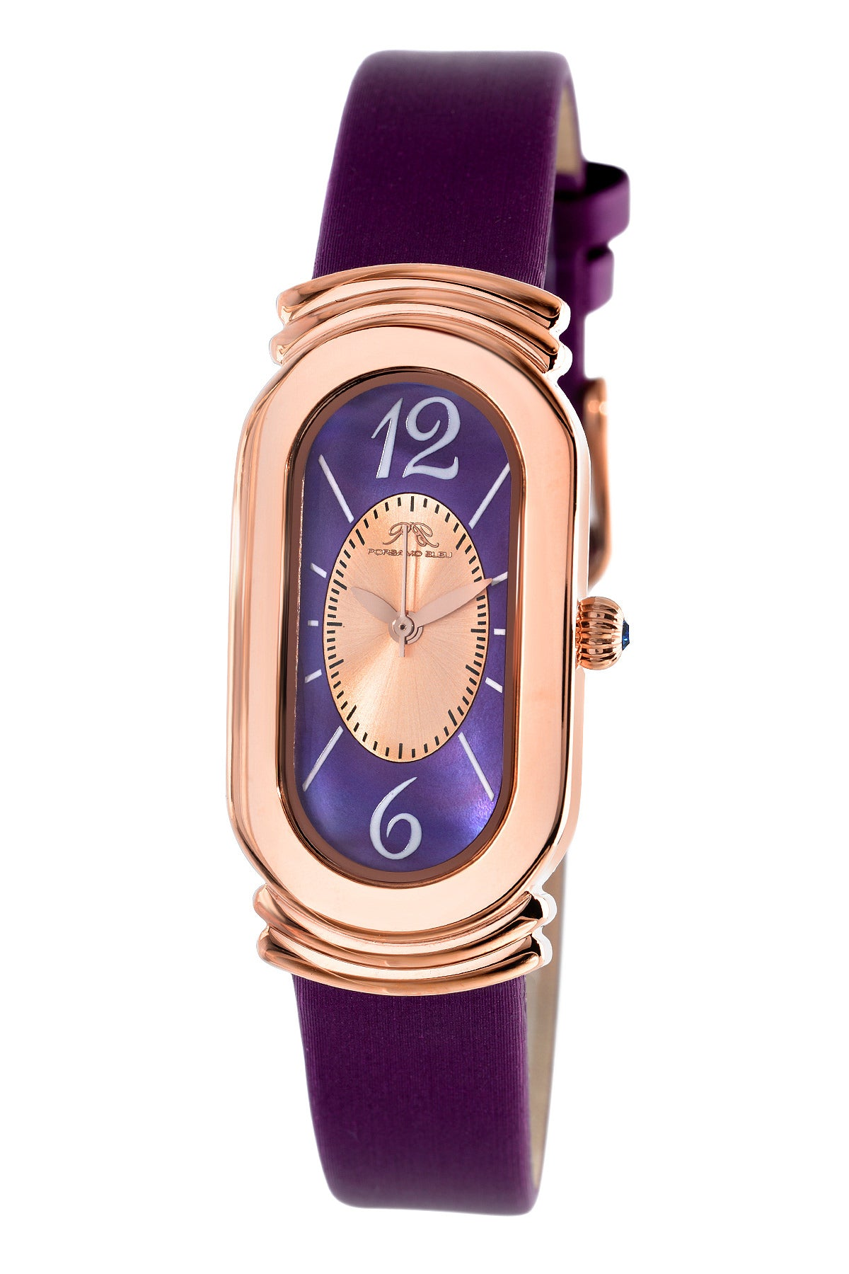 Porsamo Bleu Camille luxury women's silk covered leather watch, rose, purple 972BCAL