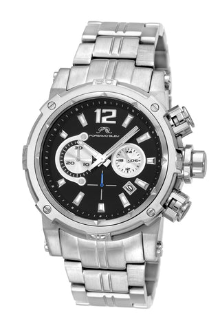 Porsamo Bleu Antonio luxury chronograph men's stainless steel watch, silver 612AANS