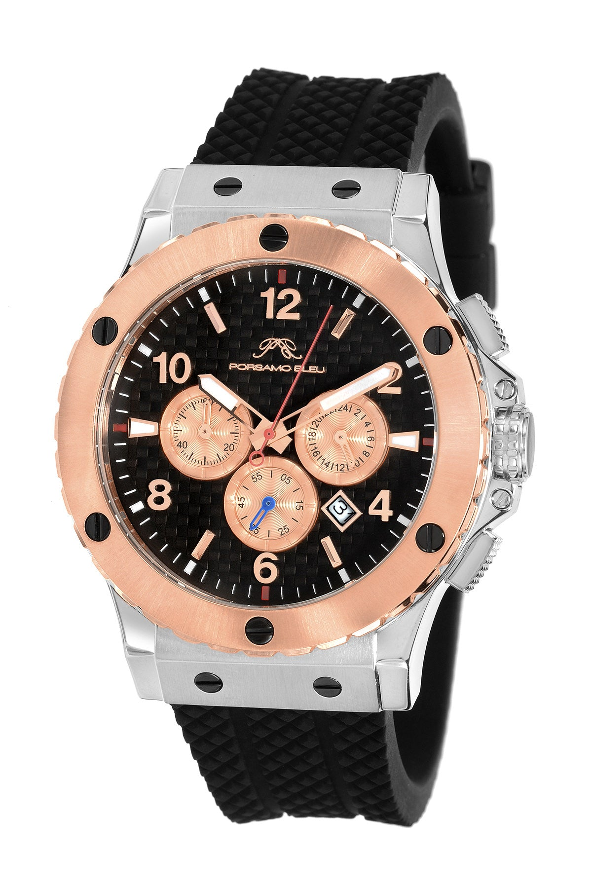 Porsamo Bleu Marcus luxury chronograph men's watch, silicone strap, rose, silver, black 651DMAR