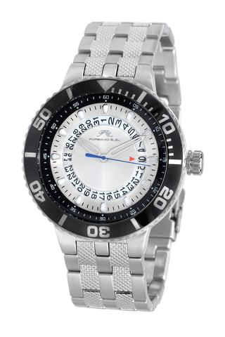 Porsamo Bleu Sebastian luxury men's stainless steel watch, silver, black 461ASES