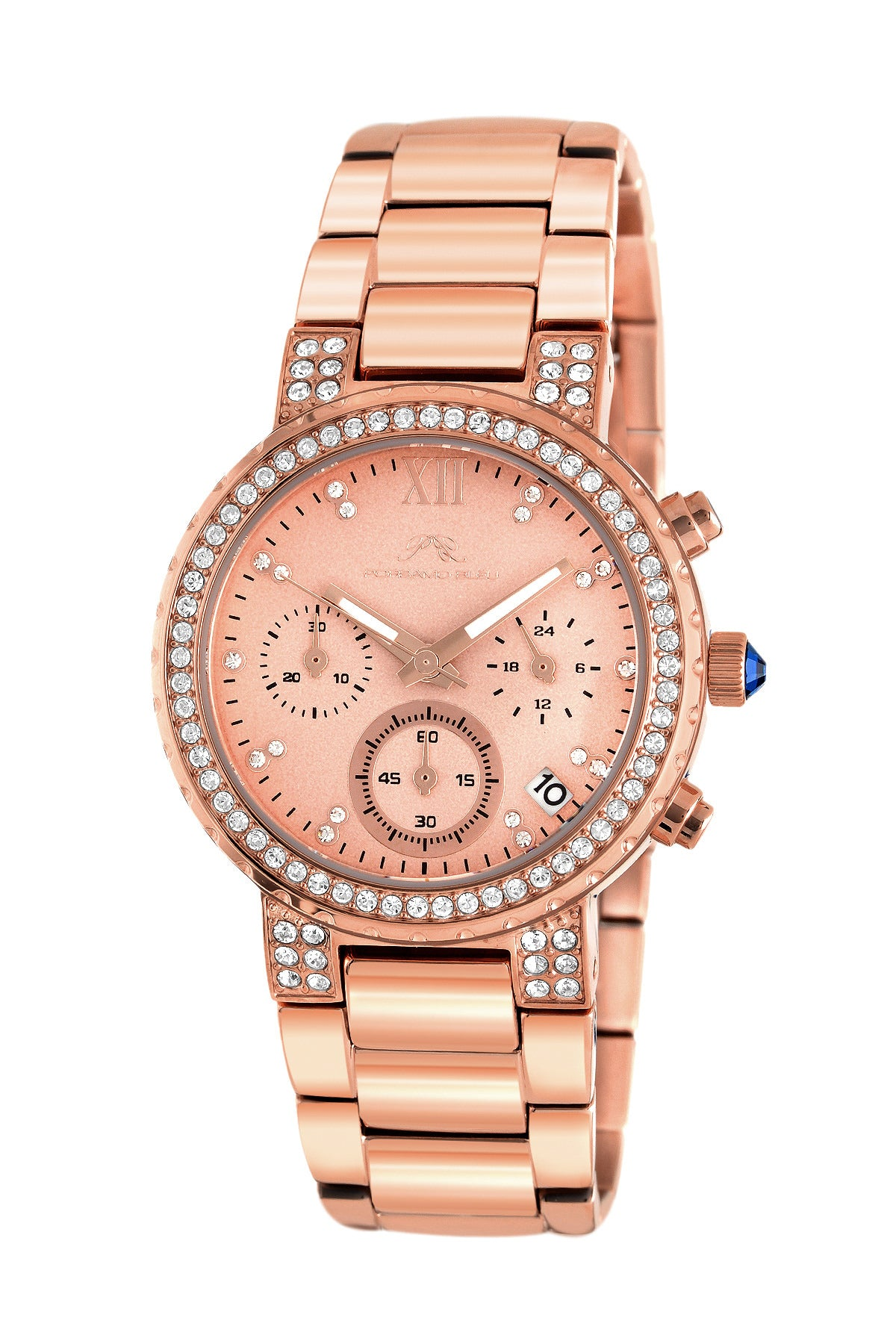 Porsamo Bleu Pilar luxury chronograph women's stainless steel watch, rose 501CPIS