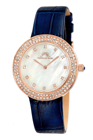 Porsamo Bleu Larissa luxury women's watch, genuine leather band, crystal inlaid bezel, white, rose, blue 892CLAL