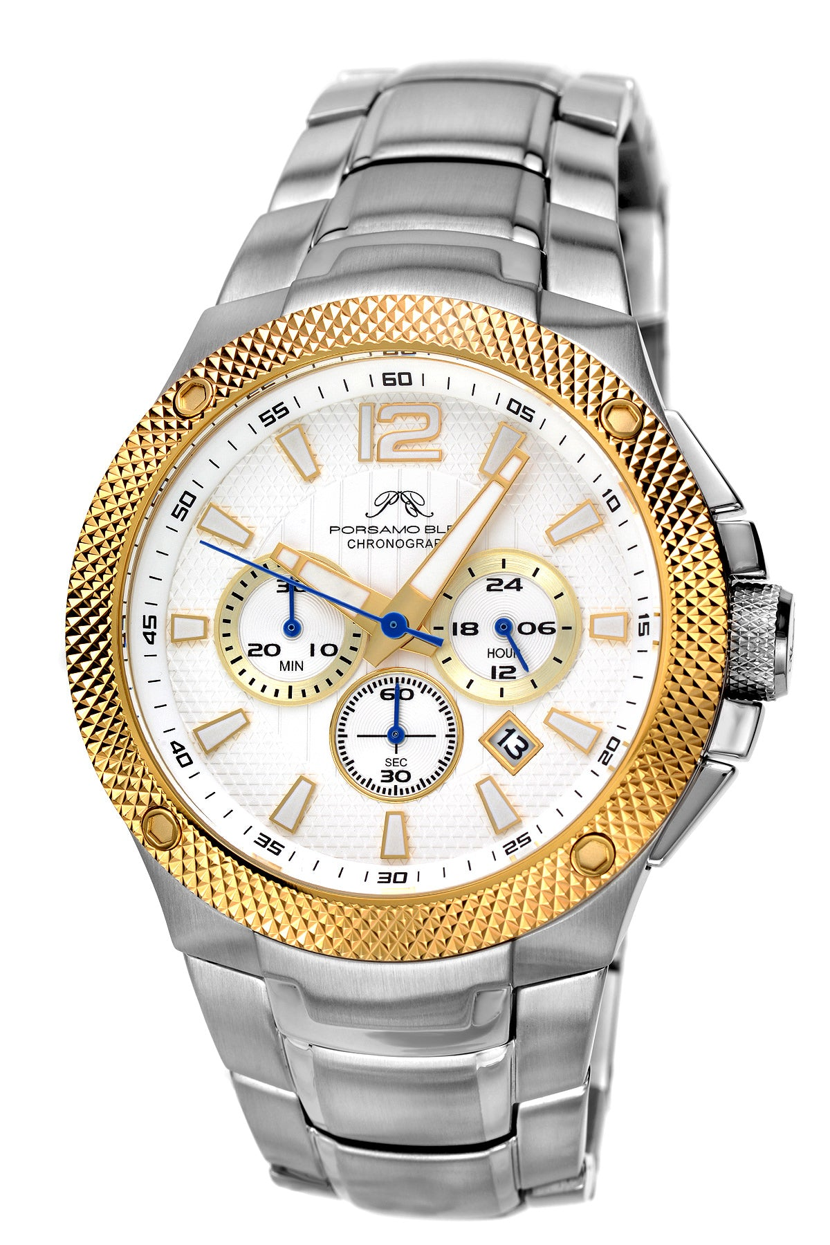 Porsamo Bleu Pierre luxury chronograph men's stainless steel watch, silver, gold, white 251BPIS