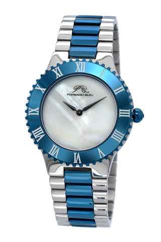 Porsamo Bleu Lexi luxury women's stainless steel watch, silver, blue 942ALES