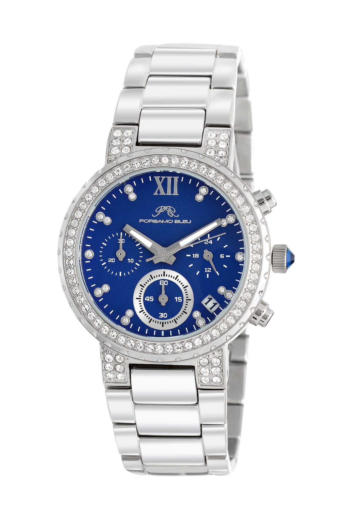 Porsamo Bleu Pilar luxury chronograph women's stainless steel watch, silver, blue 502APIS