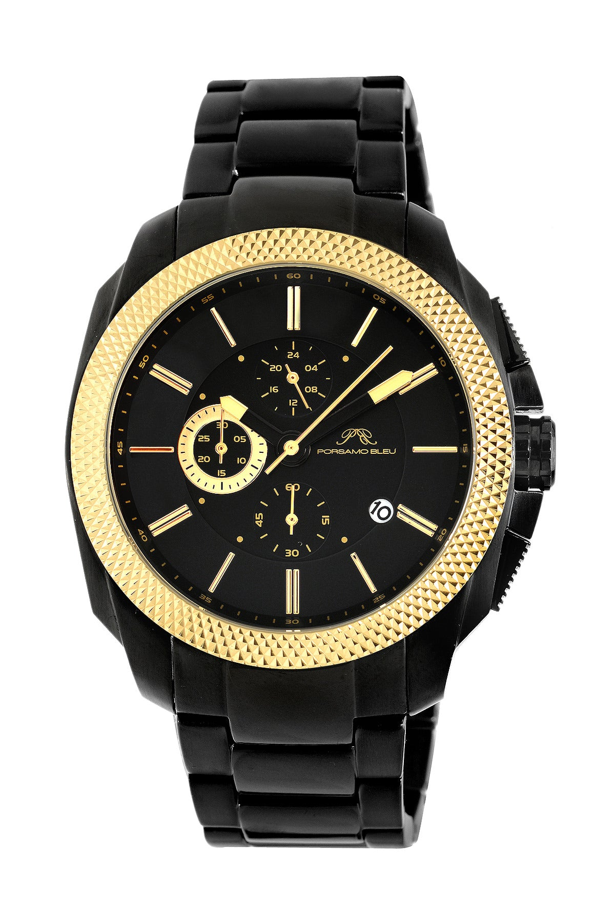 Porsamo Bleu Niccolo luxury chronograph men's stainless steel watch, gold, black 331BNIS
