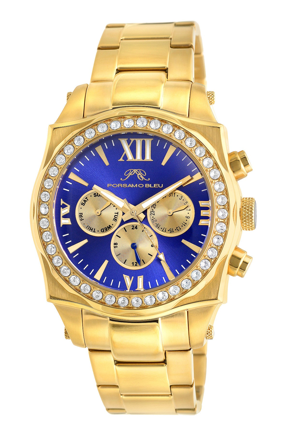 Porsamo Bleu Milan Crystal luxury women's stainless steel watch, Swarovski® crystals, gold, blue, 037FMCS