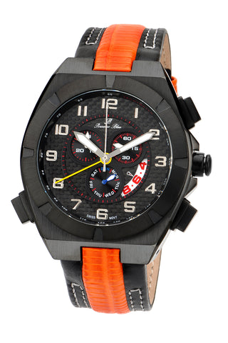 Porsamo Bleu Ibiza luxury chronograph men's watch, genuine leather band, black, orange 121AIBL